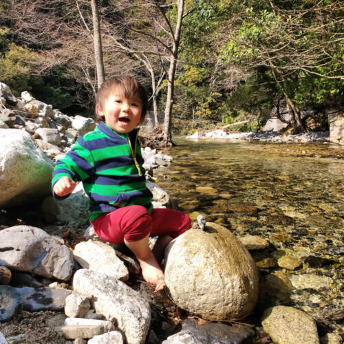Playing with rocks in Japan.